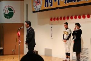 保護者会長として保護者をまとめてきた田原父の挨拶